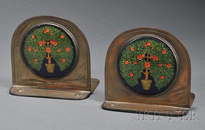 2: Pair of Rebecca Cauman Arts & Crafts Bookends Enamel
