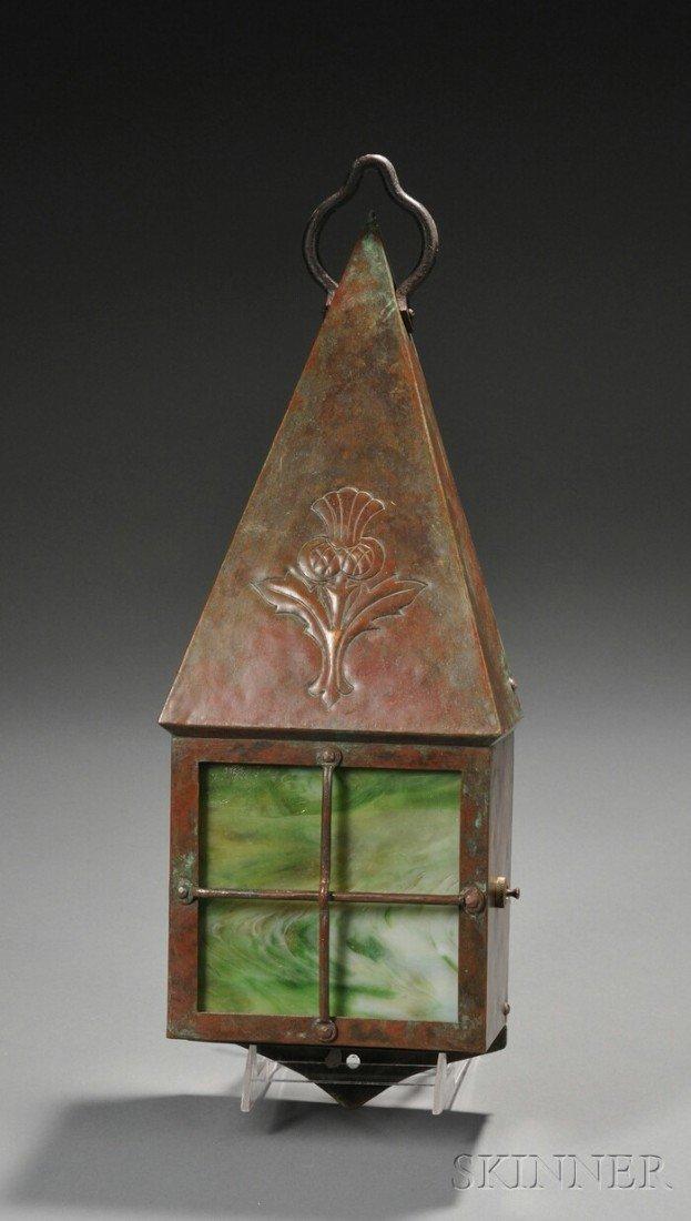 3: Arts & Crafts Wall Lantern Copper and slag glass Uni