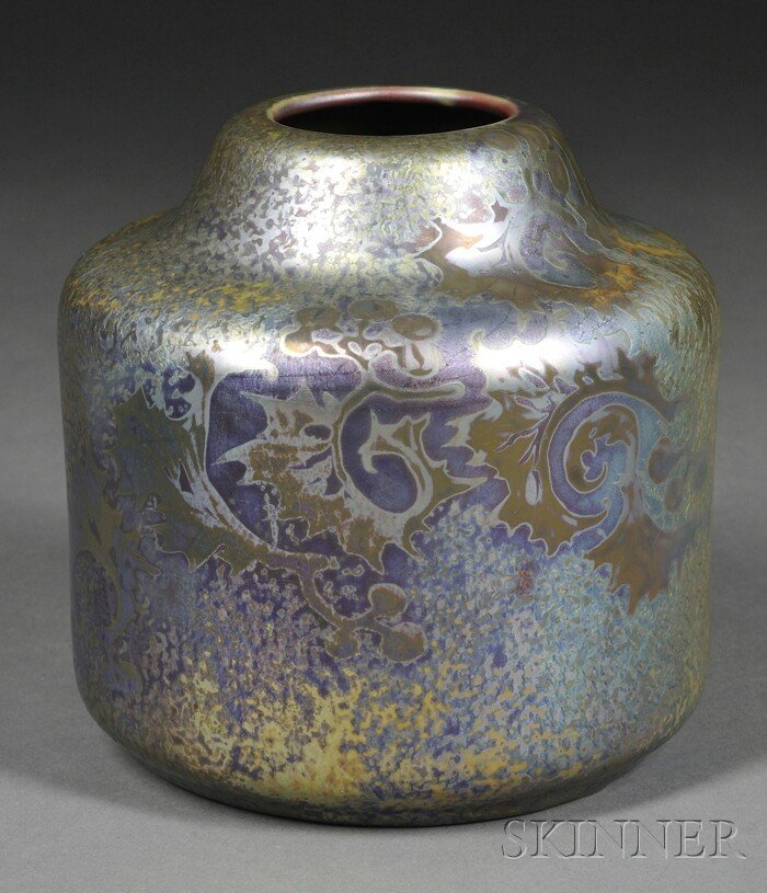 8: Weller Sicardo Ware Vase Lustre decorated art potter