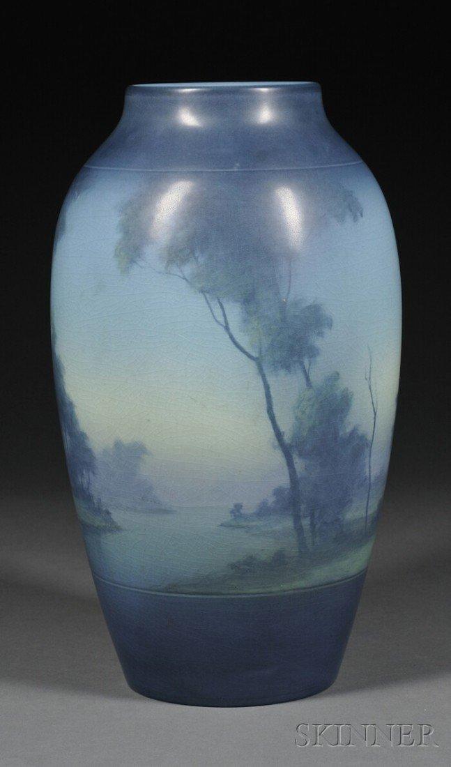 9: Rookwood Pottery Scenic Vellum Vase Decorated potter