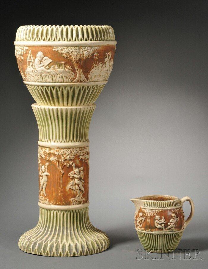 15: Roseville Donatello Pattern Jardiniere, Pedestal, a