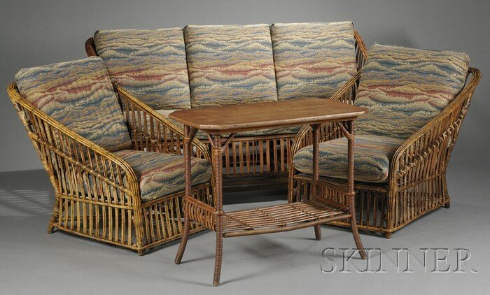 16: Arts & Crafts Couch, Two Chairs, and Table Reed, fi