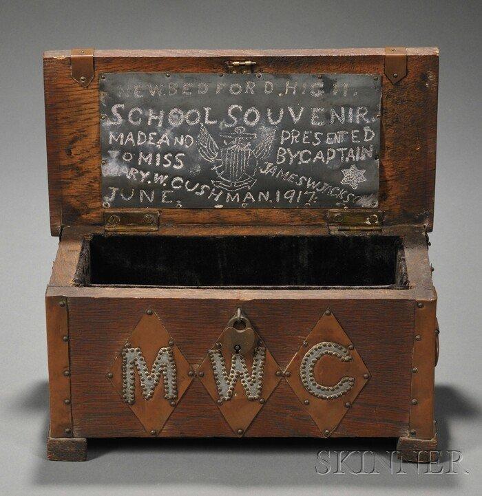 19: Arts & Crafts Box Copper-mounted oak New Bedford, M