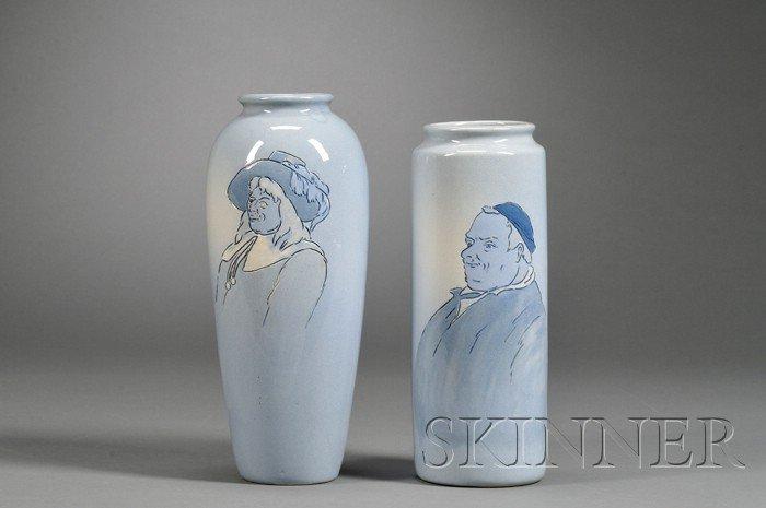 23: Two Weller Dickensware Second Line Pottery Vases De