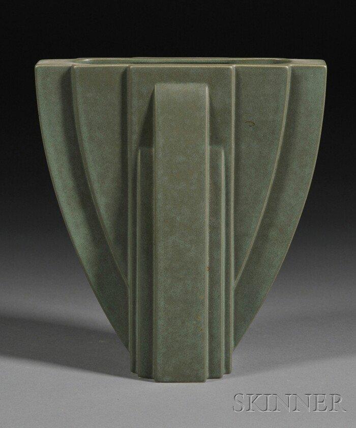 171: Claude Dumas Art Deco Pottery Vase Molded glazed e