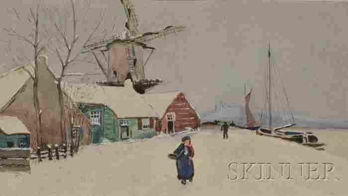 245: American School, 20th Century Winter Scene with Fi