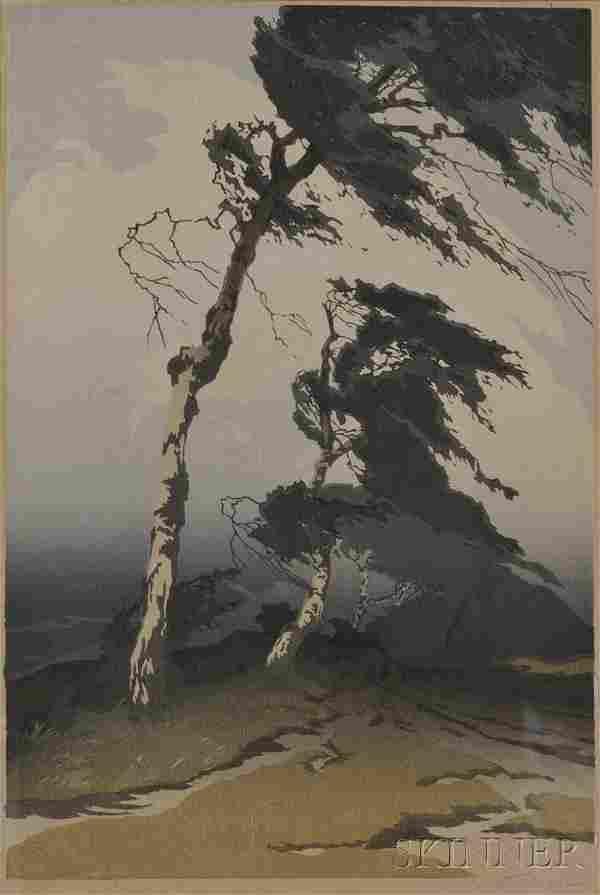 Oscar Droege (German, 1898-1982) Windswept Pine Si
