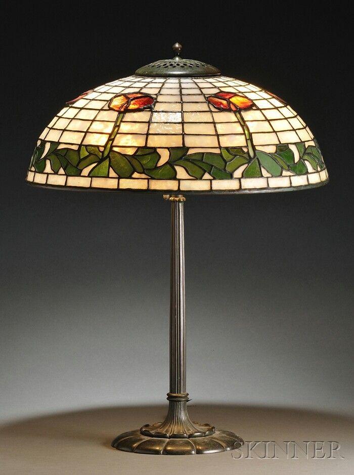 Bigelow & Kennard Table Lamp Mosaic leaded glass a