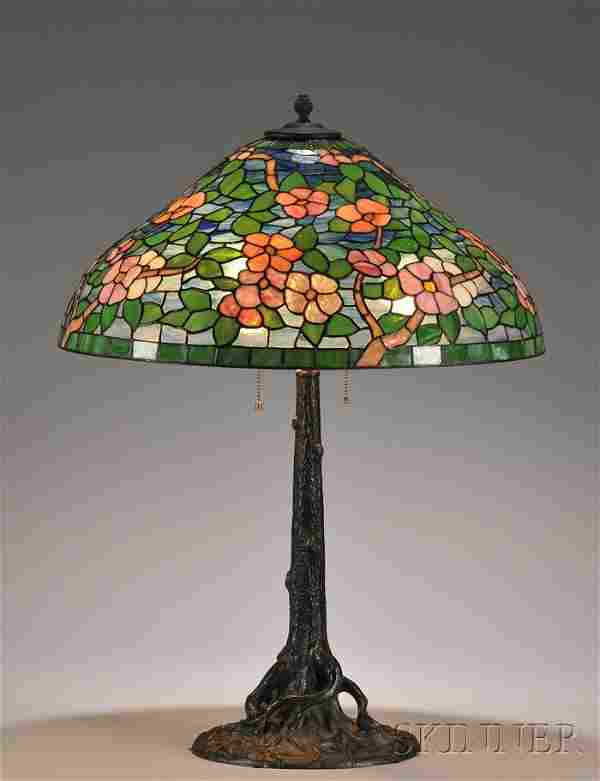 Mosaic Glass and Tree Trunk-form Table Lamp Art gl