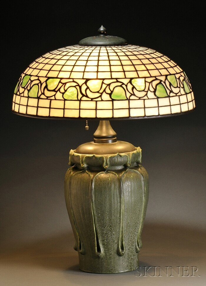 296: Grueby and Bigelow & Kennard Table Lamp Pottery an