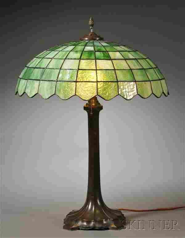 Mosaic Glass Table Lamp Patinated metal and art gl