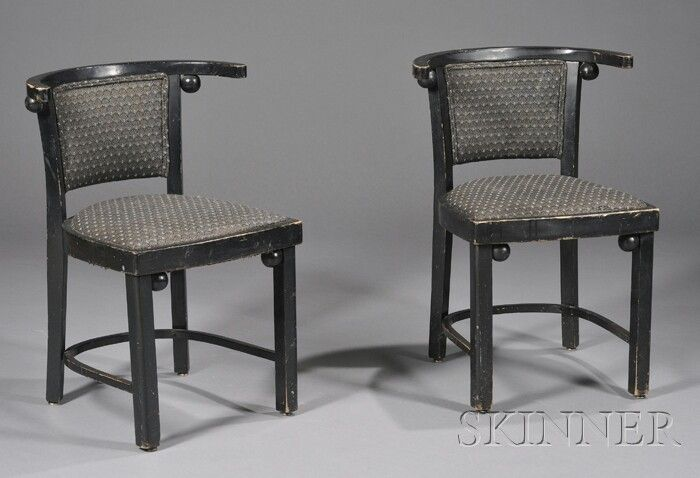 Two Side Chairs Design by Josef Hoffman Black pain
