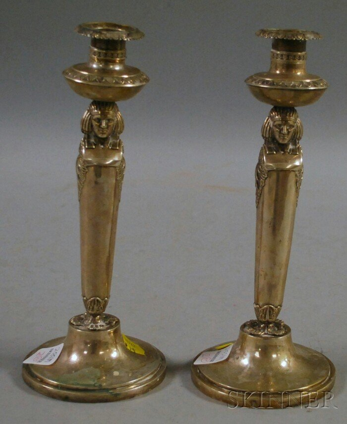 2: Pair of Weishaupt Silver Egyptian Revival Candlestic
