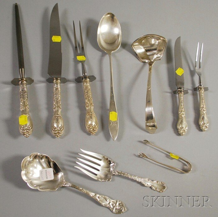 13: Ten Sterling Serving Items, a Frank Whiting three-p