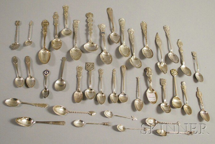 21: Large Group of Silver Souvenir Spoons, mostly comme