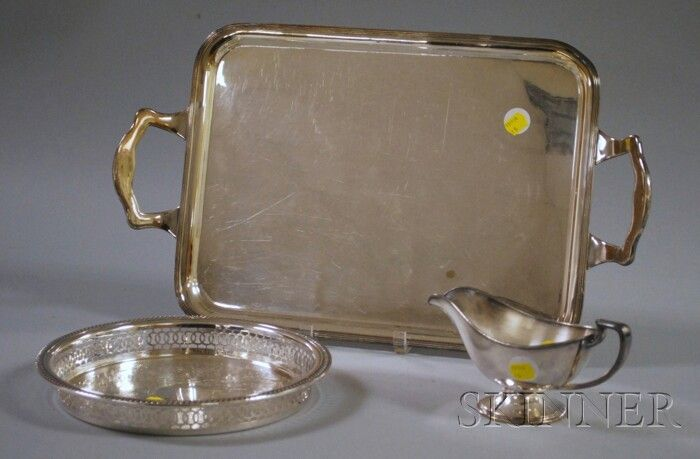101: Three Silver-plated Table Items, a Sheffield repro