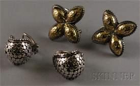 173: Two Pairs of John Hardy Sterling Silver Earrings,