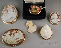 225 Six Cameo and Portrait Brooches three goldframed