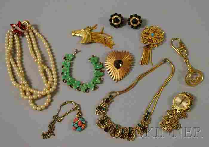 229: Small Group of Signed Costume Jewelry, including a