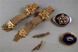 247A: Small Group of Antique Jewelry, a pair of gold-fi