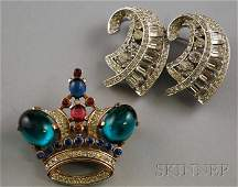 257: Two Vintage Costume Paste and Rhinestone Brooches,