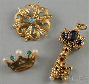 267 Three 14kt Gold Jewelry Items an opal and seed pe