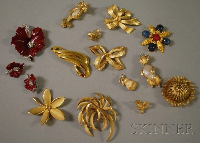 271: Small Group of Trifari Jewelry, including two moth