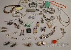 422A: Group of Mostly Sterling Silver and Hardstone Jew
