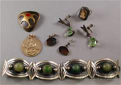 450: Small Group of Mostly Silver Jewelry, a green ston
