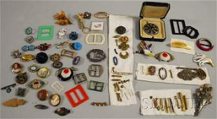 532: Group of Mostly Victorian Costume Brooches, many r