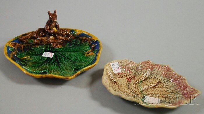 701: English Majolica Squirrel Figural Nut Dish and a T