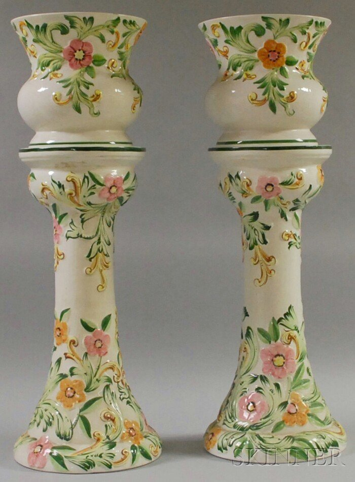 702: Pair of Italian Hand-painted Floral-decorated Cera