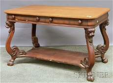 705 Victorian Carved Mahogany Twodrawer Library Table