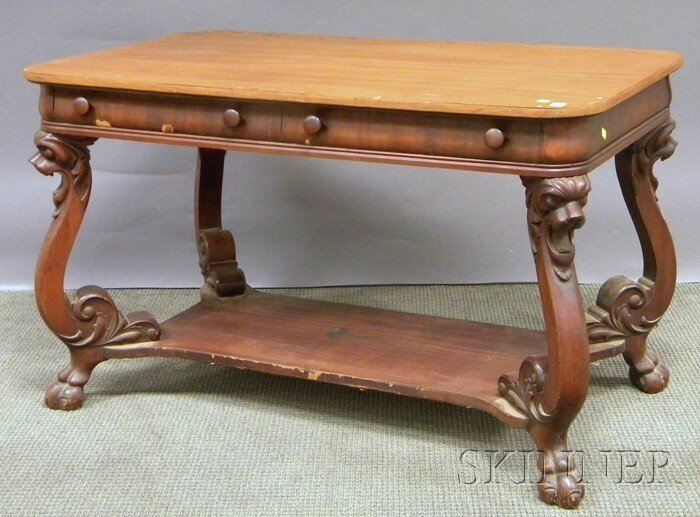 705: Victorian Carved Mahogany Two-drawer Library Table