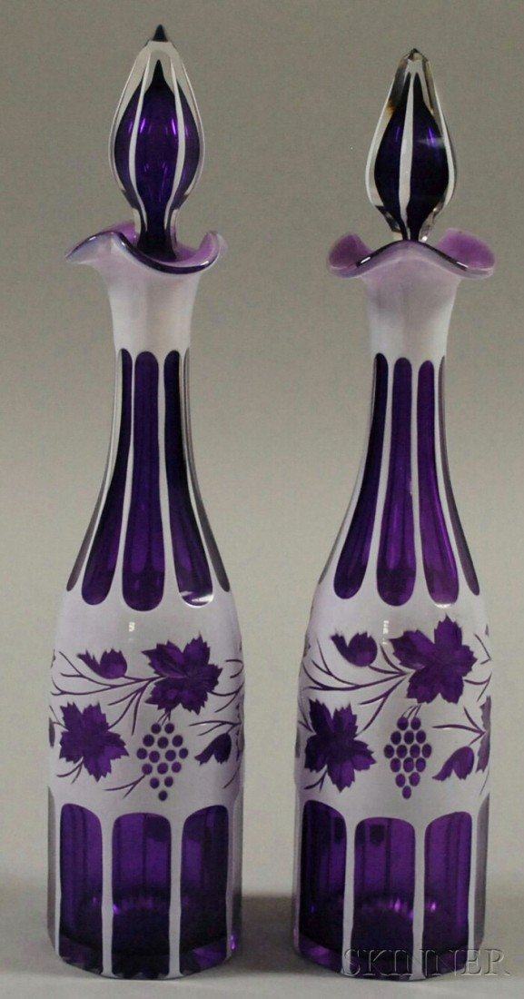 712: Pair of Bohemian Cased White-cut-to-Amethyst Art G
