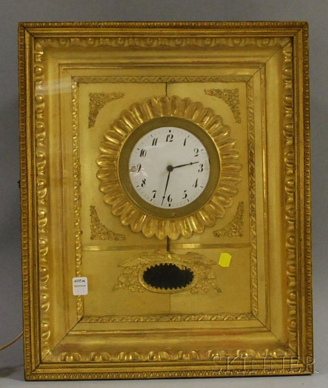 716: Neoclassical Gilt Wall Clock, with enameled Arabic
