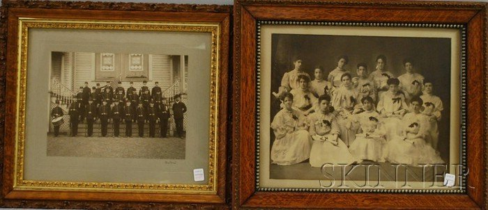 718: Two Framed Class Photographs of a Girl's Finishing