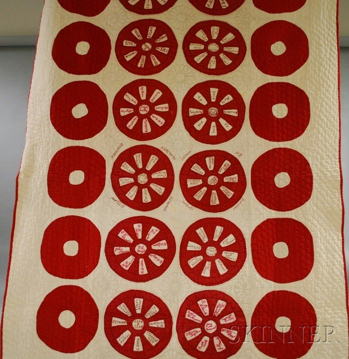 723: Red and White Pieced and Embroidered Cotton Friend
