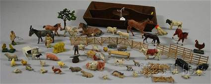 808: Painted Lead and Composition Toy Animal Figures, E