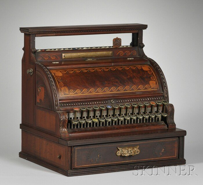 888: National Cash Register Co. Inlaid Carved Mahogany