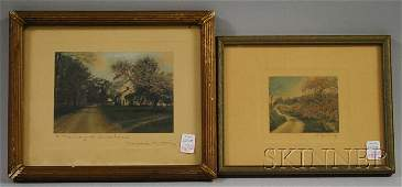980: Two Small Framed Wallace Nutting Hand-colored Land