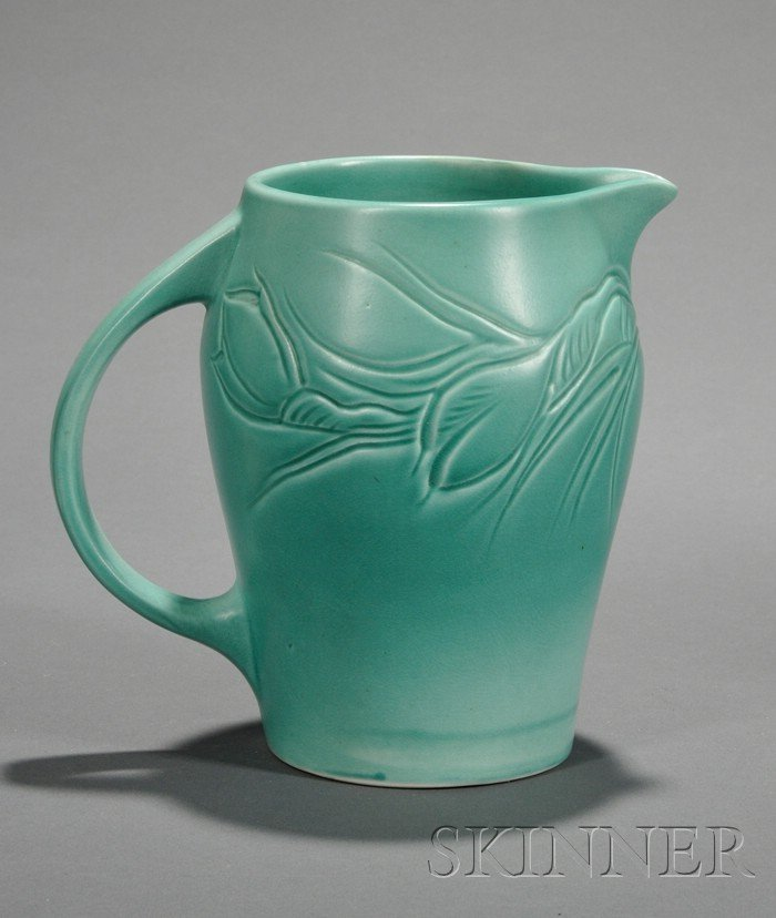 4: Susie Cooper Matte Green Glazed Art Pottery Pitcher,