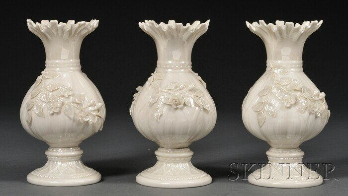 7: Three Belleek Porcelain Ribbon Vases, Ireland, c. 19
