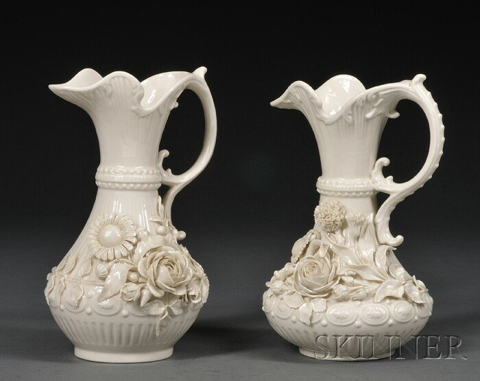 9: Two Belleek Porcelain Aberdeen Pitchers, Ireland, c.