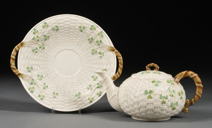 10: Two Belleek Porcelain Shamrock Items, Ireland, c. 1