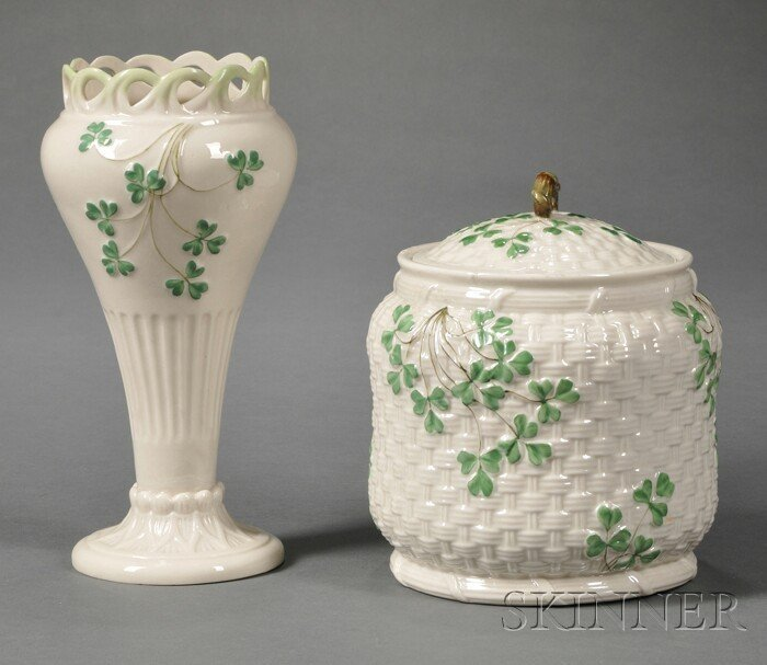 11: Two Belleek Porcelain Shamrock Items, Ireland, c. 1