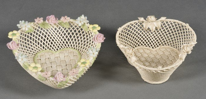 17: Two Belleek Porcelain Four-strand Baskets, Ireland,