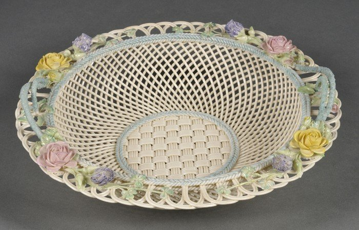 18: Belleek Porcelain Sydenham Twig Fruit Basket, Irela
