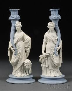 159: Pair of Wedgwood Jasper Figural Candlesticks, Engl