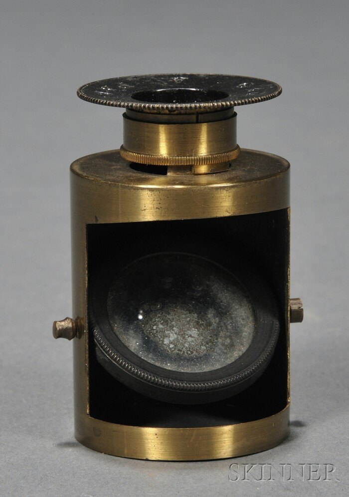 18: Brass Rock Crystal Lens, Gaudin, Paris, 19th centur